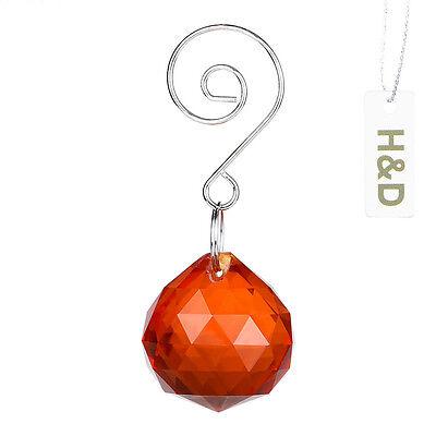 3 Natural Orange Suncatcher Crystal Ball Prisms Lighting Lamp Drops Pendant 30mm