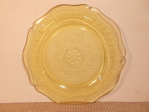 "Dinner Plate 11/"" Spoke Federal Depression Glass Patrician Amber"