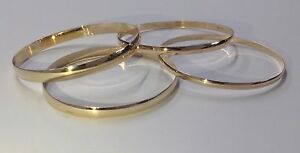 375-9ct-Solid-Yellow-Gold-Bangles-Ladies-Fully-Hallmarked-Stack-able