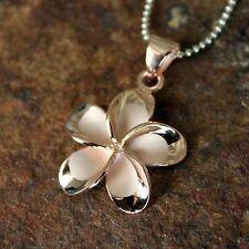 Halsketten & Anhänger Modeschmuck ROSE GOLD PLATED SILVER 925 HAWAIIAN 9MM PLUMERIA FLOWER 3 SHINY DOLPHIN PENDANT