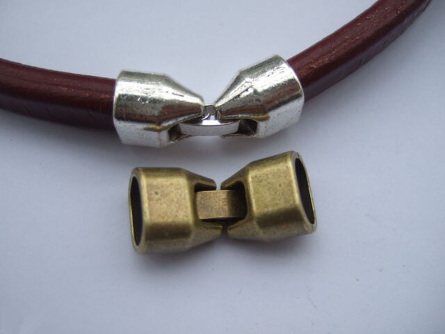 5 Sets 10x7mm Silver/Bronze/Golden Snap Clasp for Thick Licorice Leather Cord