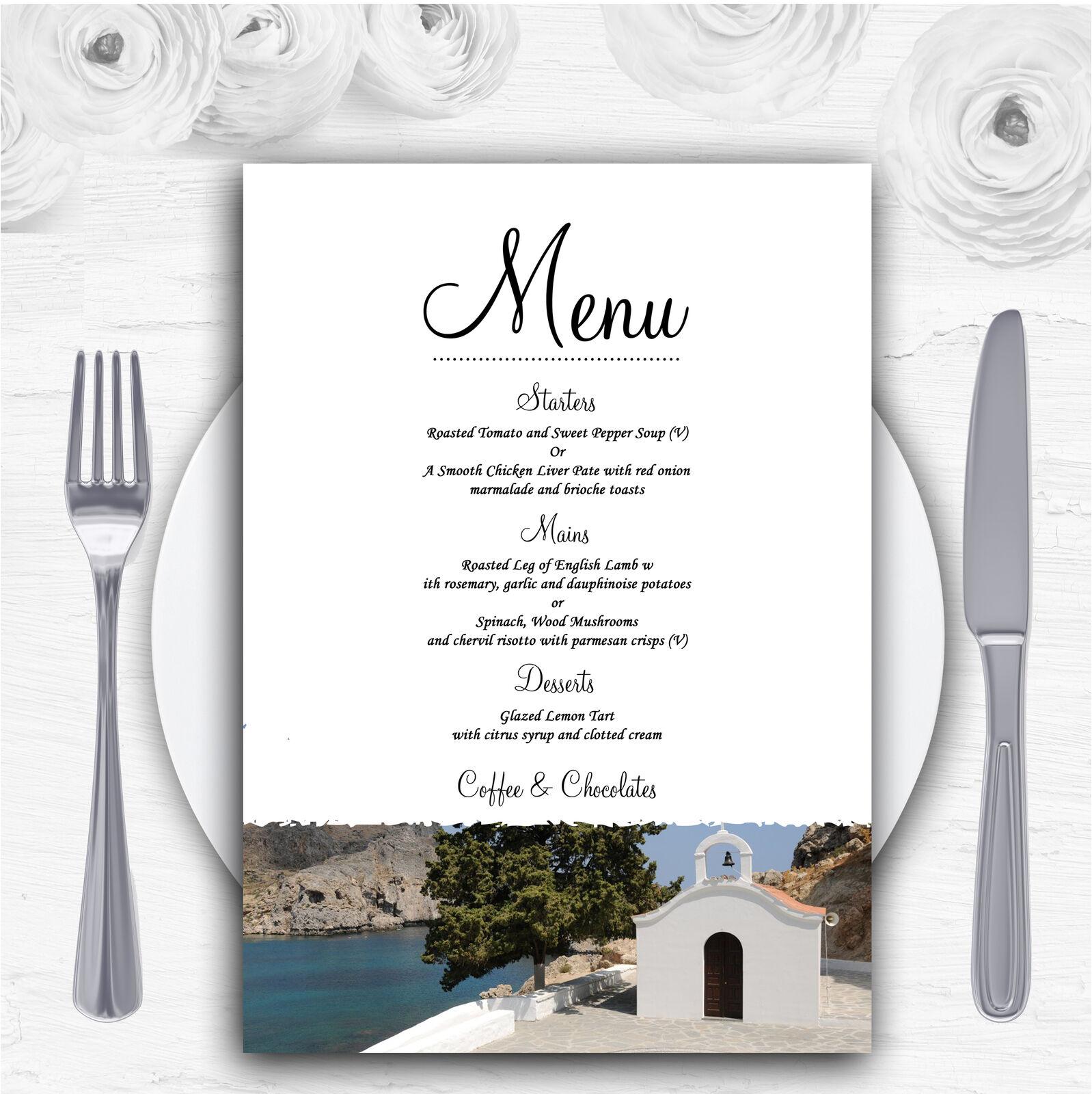 St Pauls Lindos Rhodes Abroad Personalised Wedding Menu Cards