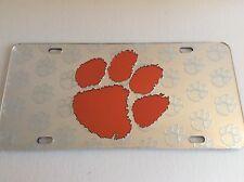 Clemson Tigers License Plate, Laser Cut Orange Mirrored Paw Logo Car Tag, Repeat