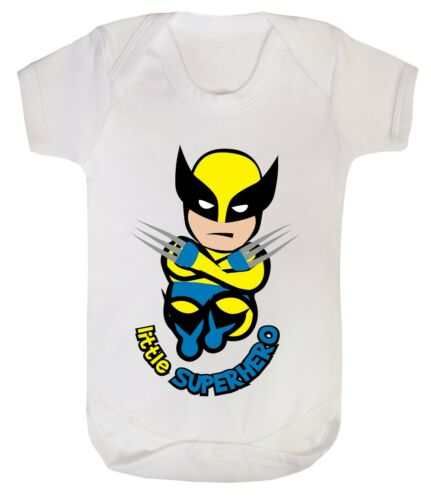Baby Wolverine little superhero funny costume Bodysuits son dad 100/% Cotton 0-24