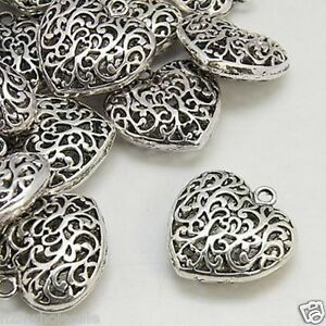 5 large antique silver filigree heart pendants jewellery making image is loading 5 large antique silver filigree heart pendants jewellery mozeypictures Choice Image