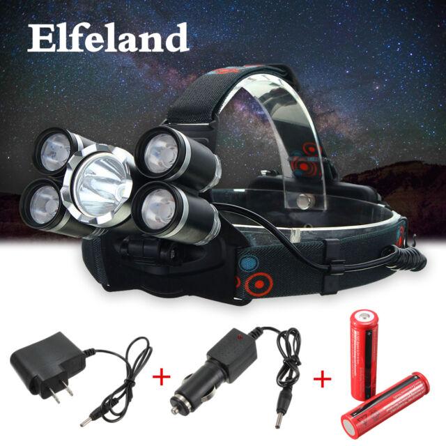 50000LM 5x T6 LED Faro Cabeza Linterna ANtorcha Luz 18650 US/UK/EU/AU Cargador