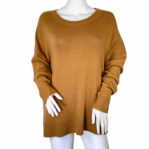 Chelsea28 High / Low Crewneck Cashmere Blend Sweater Camel Tan Size Large NWT