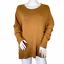 thumbnail 1 - Chelsea28 High / Low Crewneck Cashmere Blend Sweater Camel Tan Size Large NWT