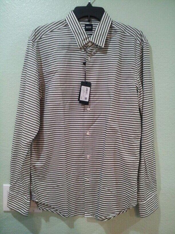Hugo Boss Men Slim Fit Large Shirt Green White stripe Button up Long Sleeve--new