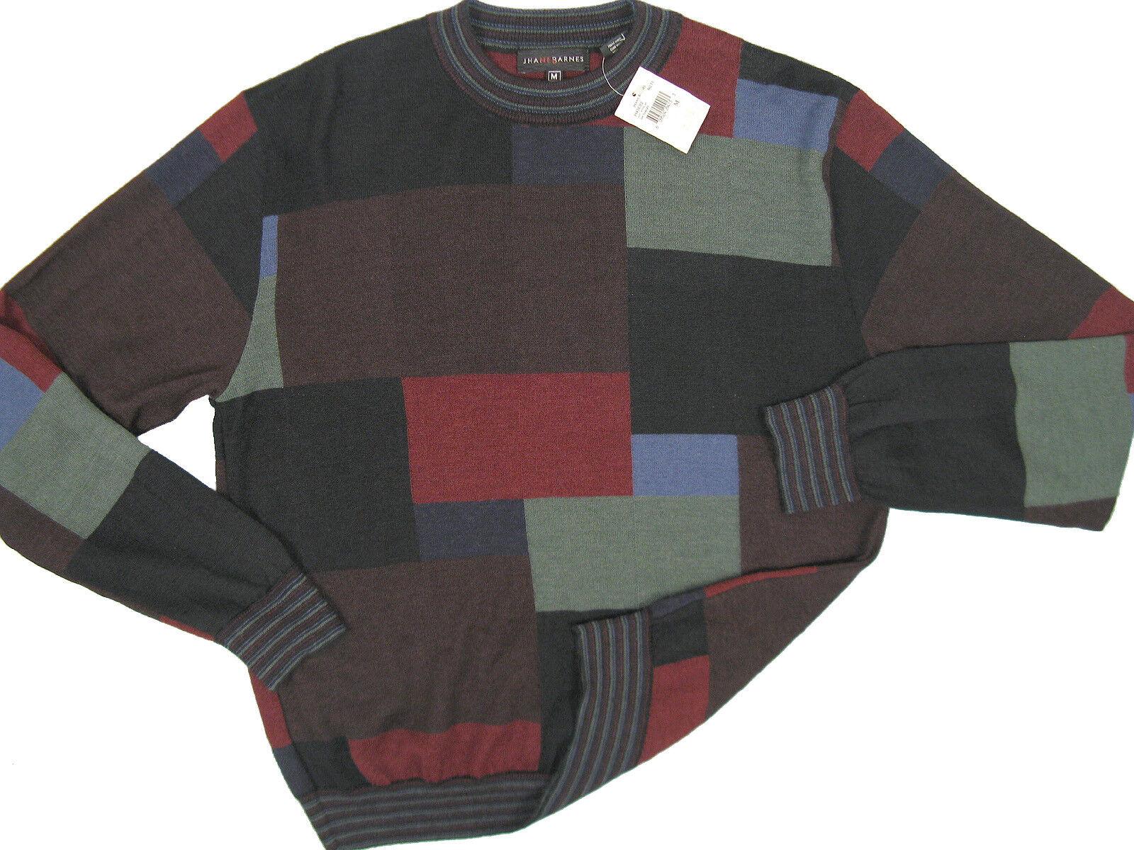 NEW   Jhane Barnes Fine Geometric Pattern Sweater   XL   Baby Alpaca & Silk