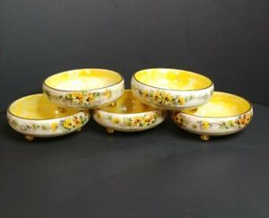 MZ-Austria-5-Footed-Berry-Bowls-Yellow-Luster-Hanpainted-Flowers-Gold-Gilt
