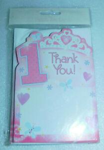 1st First Birthday Princess Thank You Cards Envelopes 20 Amscan Party Pink Tiara