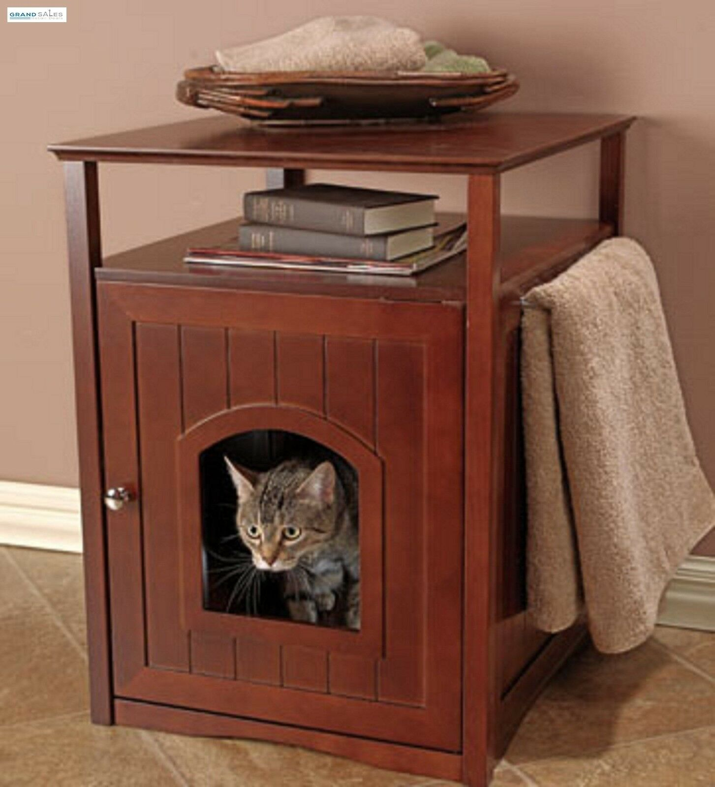 Cat Litter Box Cover Wood Nightstand Pet Home Dog House Furniture Kitty Washroom