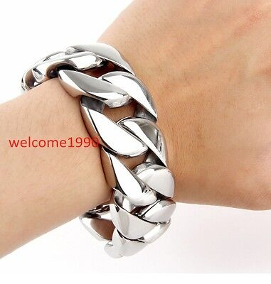 "9/""MEN/'s Stainless Steel HEAVY 16x5mm Silver Miami Cuban Curb Chain Bracelet"