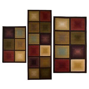 Bright Color Block Living Room Rug