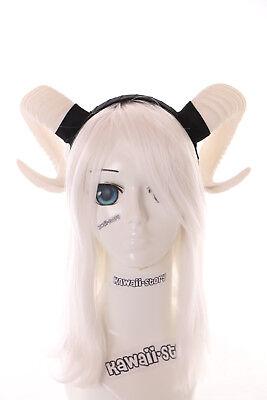 C-37-1 DIY Weiß Widder Satan Teufel Hörner Haarreif Kopfschmuck Gothic Lolita