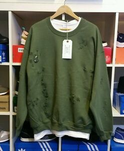 Distressed Ripped Army Green Sweatshirt By 9deuce Not Lmdn Kanye