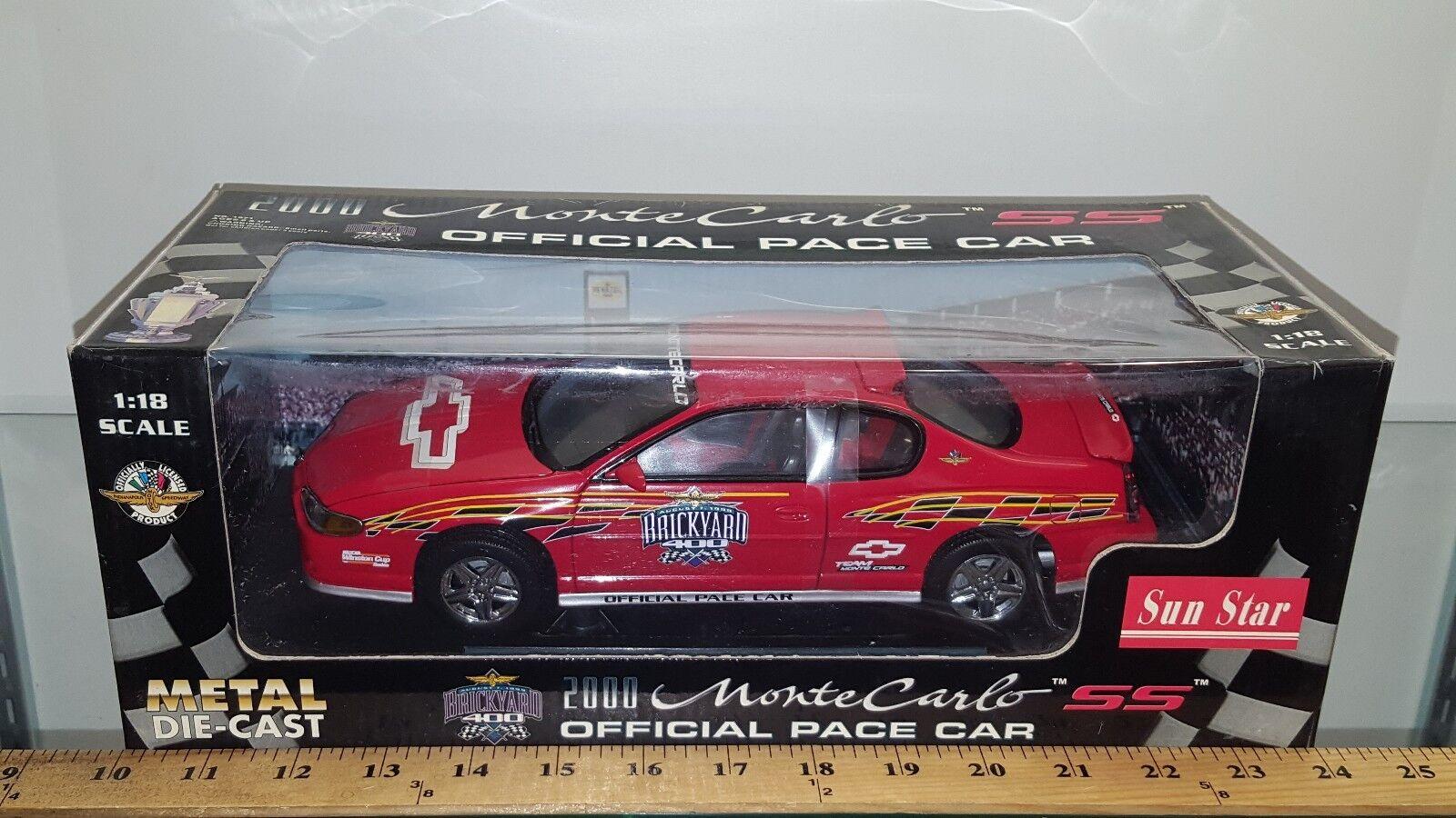barato 1 18 Sun Estrella Brickyard 400 oficial Pace Pace Pace Coche 2000 Monte Cochelo Ss Rojo rd 3  mejor vendido
