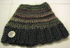Crochet MESSY BUN HAT CAP Multi Greys Size: Youth to Teen Handmade NEW Free Ship