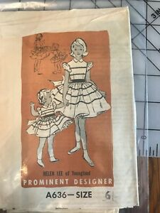 A636 Helen Lee of Youngland Designer 1950's Collectable Dress Sewing Pattern S-6