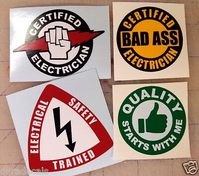 4 Hard Hat Stickers | Helmet Decals Labels Electrician Bad Ass Electrical Safety
