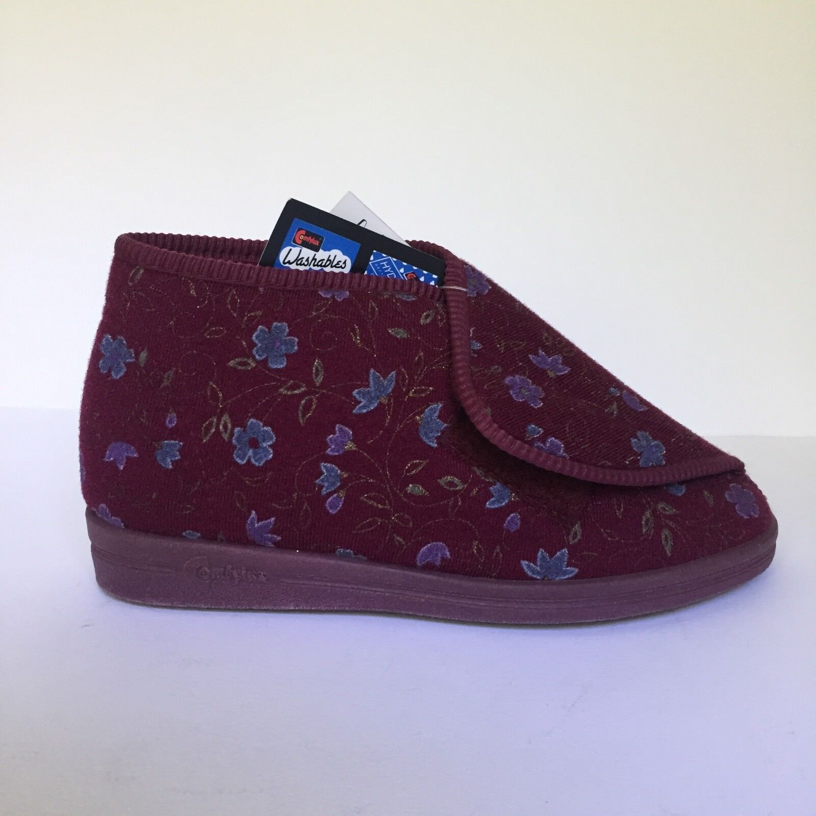 Comfylux Andrea Burgunday Red Floral Velcro Comfort Boot Slippers UK 4 EU 37