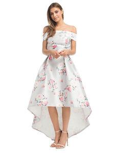 7b12b9e71649e Chi Chi London Grey Floral Print Bardot Dip Hem Dress Size 14 BNWT ...