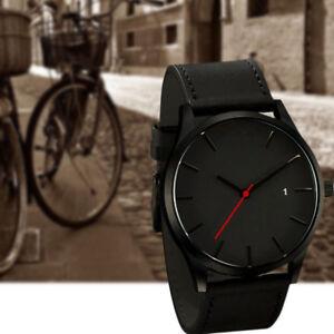 Men-039-s-Fashion-Sport-Stainless-Steel-Case-Leather-Quartz-Analog-Wrist-Watch-z