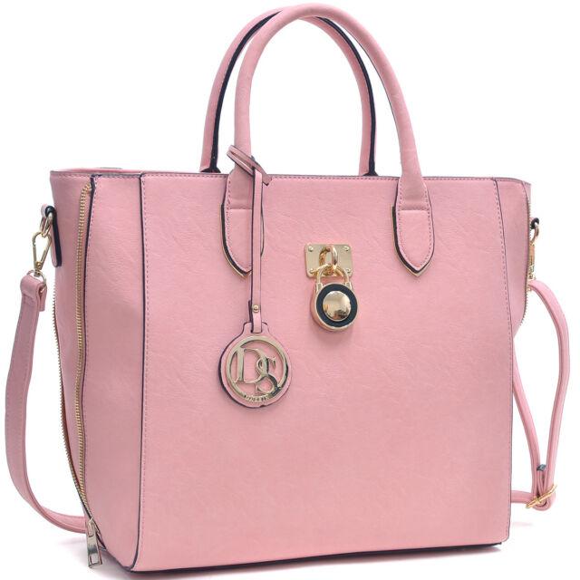 97377d466647 Women Pink Handbag Faux Leather Satchel Briefcase Trapeze Shoulder ...
