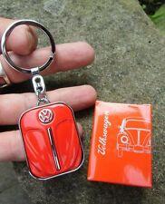 German VW Volkswagen Classic Beetle BUG Oval Split - RED - Front Hood Keychain