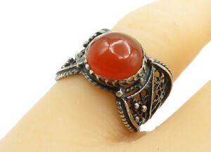 925-Sterling-Silver-Vintage-Cabochon-Cut-Carnelian-Cocktail-Ring-Sz-6-R12622