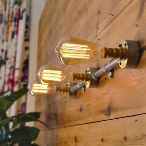 Industrial Vintage Style Wall Or Ceiling Light 3 Way Bar