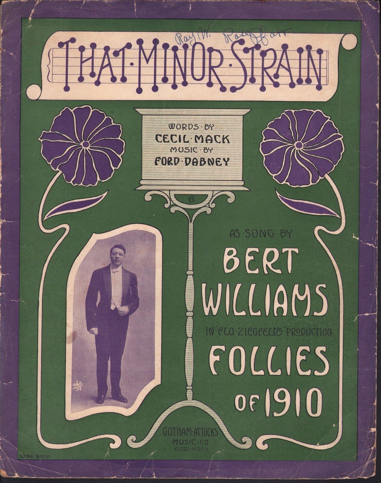 That Minor Strain 1910 Bert Williams Large Format Sheet Music