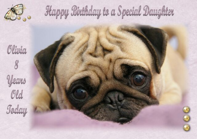 Personalised Birthday Card Pug Puppy Large Mum Sister Daughter Grandaughter O