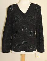 Bala Bala Black Crinkle Fiber Art-to-wear Boutique Tunic Top Shirt L $146