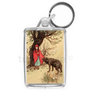 Little-Red-Riding-Hood-Art-Keyring-Gift-Key-Fob-Keychain-Medium-Size