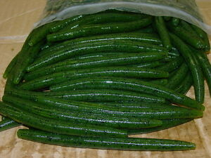 """4/"""" Stick Senko Style Watermelon Seed Chartreuse Tail 100 ct bag Bass Worm"""