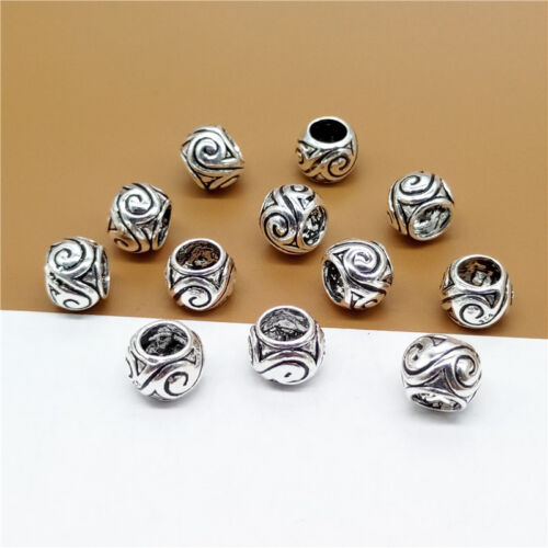 6pcs of 925 Sterling Silver Large Hole Spiral Beads for European Bracelet