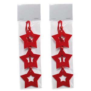 Pack-2-3-Navidad-Forma-De-Estrella-arbol-PERCHAS-6cm-ROJO-fieltro-MADERA-GEMAS