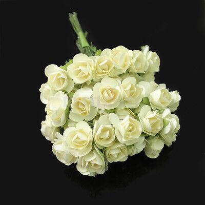 144 X Ivory Chic Mini Artificial Paper Rose Flower Wedding Card Decor Craft DIY