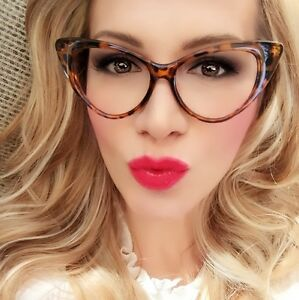 e093de234e Hot CAT EYE Brown Tortoise Sexy Clear Lens Big Nikita Eyeglasses ...