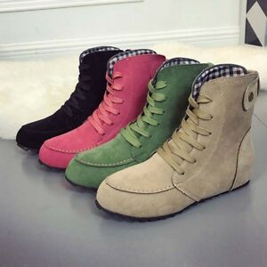 Women-039-s-Suede-Martin-Boots-High-Top-Leather-Ankle-Round-Toe-Retro-Flats-Good