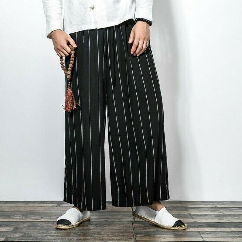 Men's Cotton Linen Striped Trousers Comfort Loose Straight Leisure Long Bt15