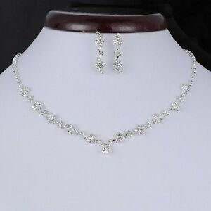 Image Is Loading Fashion Silver Crystal Diamond Earrings Necklace Set Wedding