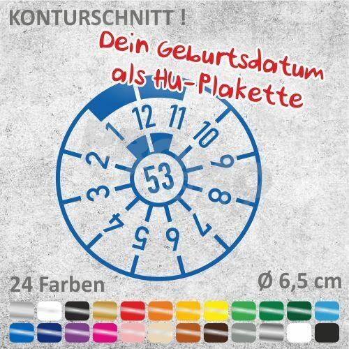 HU-Targa con data di nascita 2-metti. auto adesivi sticker adesivo Ø 6,5 cm