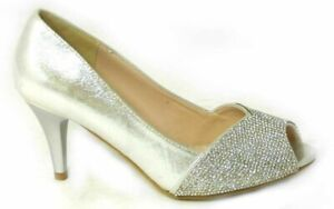 NEW-LADIES-LOW-HEEL-DIAMANTE-PEEP-TOE-WOMENS-SPARKLY-PARTY-WEDDING-BRIDAL-SHOES