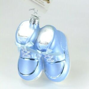 Baby-Boy-Shoes-First-Christmas-Glass-Christmas-Ornament-NEW