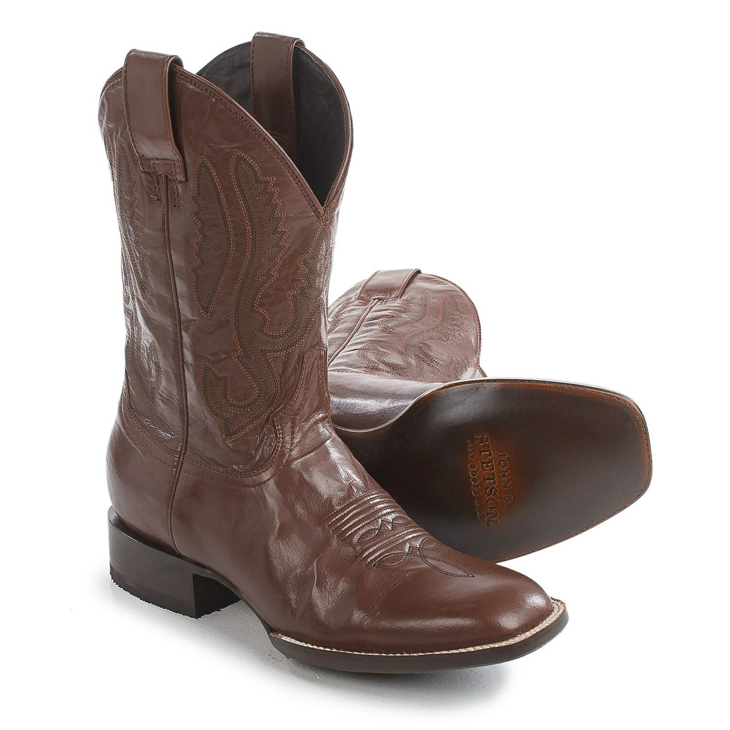 Steton Men's Cavalry US 11 D Brown Leather Square Toe Western Cowboy Boots