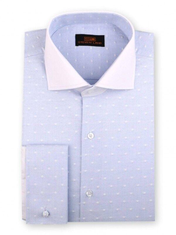 Steven Land Men's French Cuff Dress Shirt DW1839 bluee