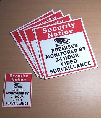 4 Pack Cctv Security Notice Warning Sticker Premises 24 Hour Video Surveillance Professioneel Ontwerp